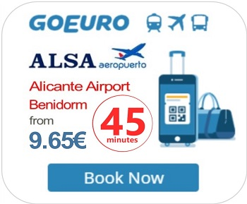 Alicante Airport Express ALSA Bus to Benidorm from 08:00 until 23:00 daily